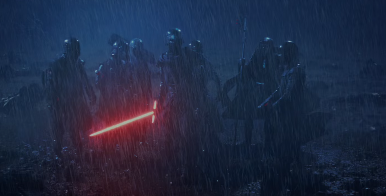Kylo Ren and the Knights of Ren stand in the rain