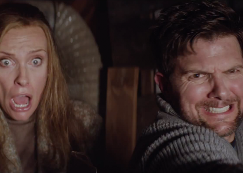 Two characters looking terrified in the film, Krampus