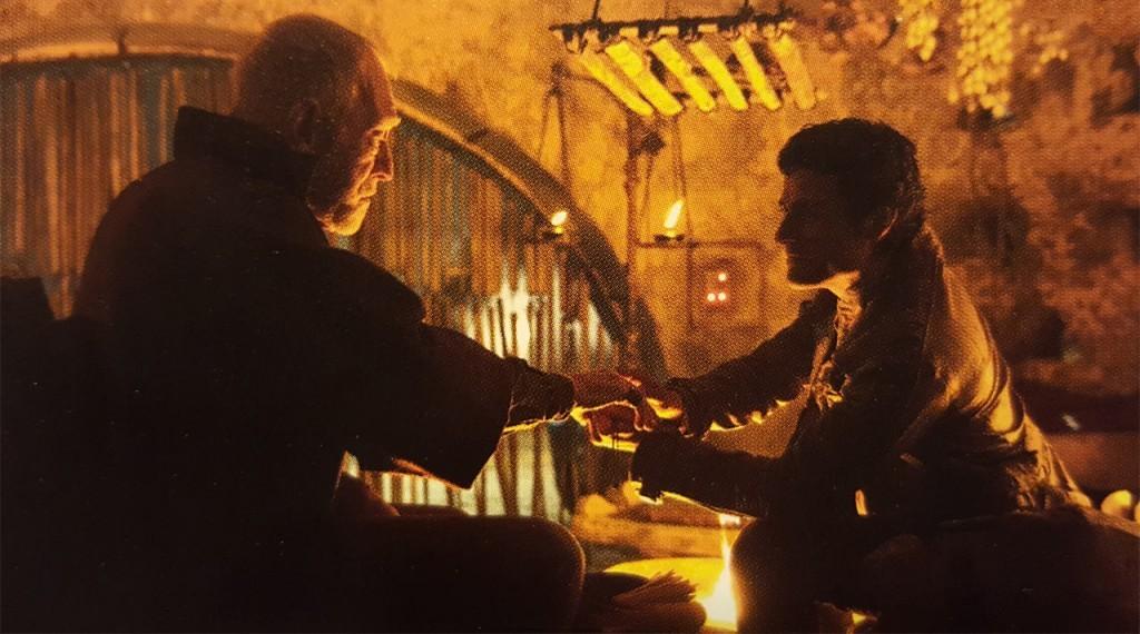 Lor San Tekka and Poe Dameron in Star Wars: The Force Awakens