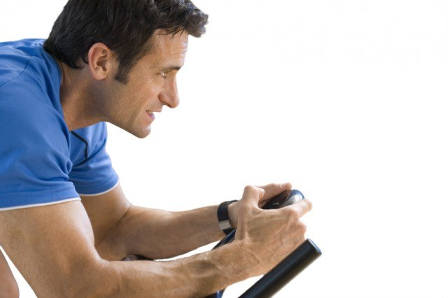 Man working out on bike