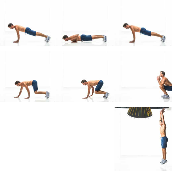 reverse burpee with push up
