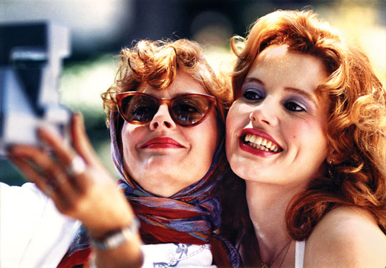 Susan Sarandon and Geena Davis's Thelma and Louise pose for a picture in Thelma & Louise