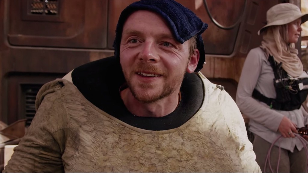 Simon Pegg in Star Wars: The Force Awakens