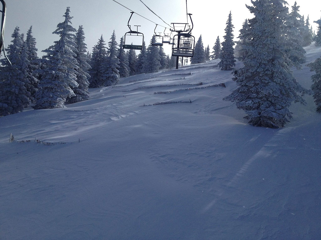 Ski lifts and snow-covered slopes in Santa Fe, New Mexico