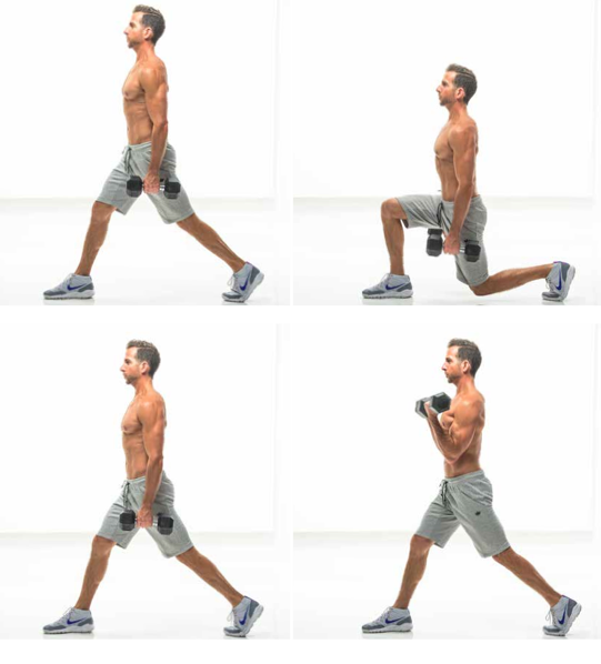split lunge with biceps curl.