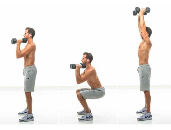 squat into shoulder press