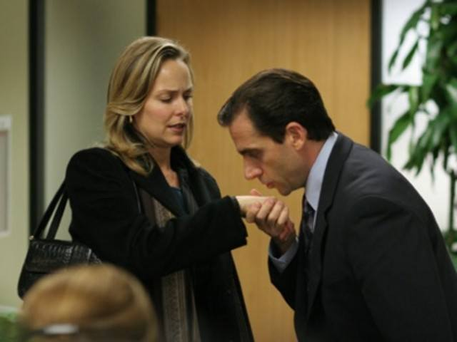 Michael Scott kisses his boss' hand