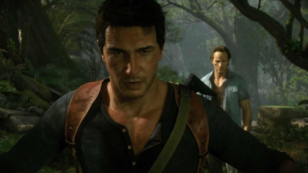 Nathan Drake and his brother Sam explore a jungle looking for treasure.