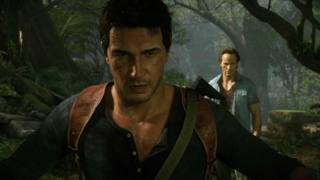 Nathan Drake and his brother Sam explore a jungle looking for treasure.