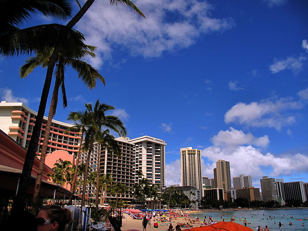 A view of Waikiki beach in Honolulu, Hawaii