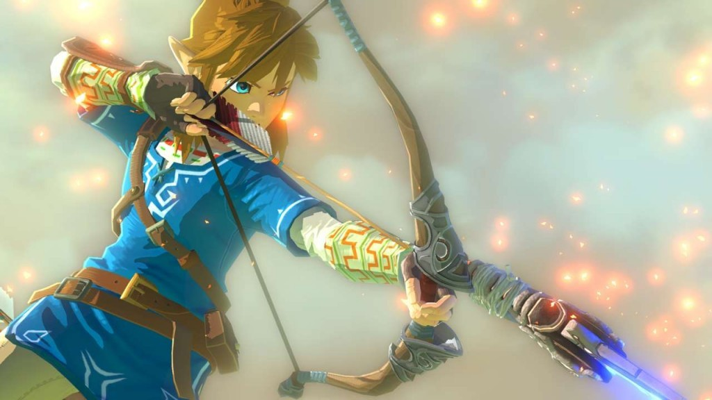 Link aims a bow and arrow to fire in The Legend of Zelda.