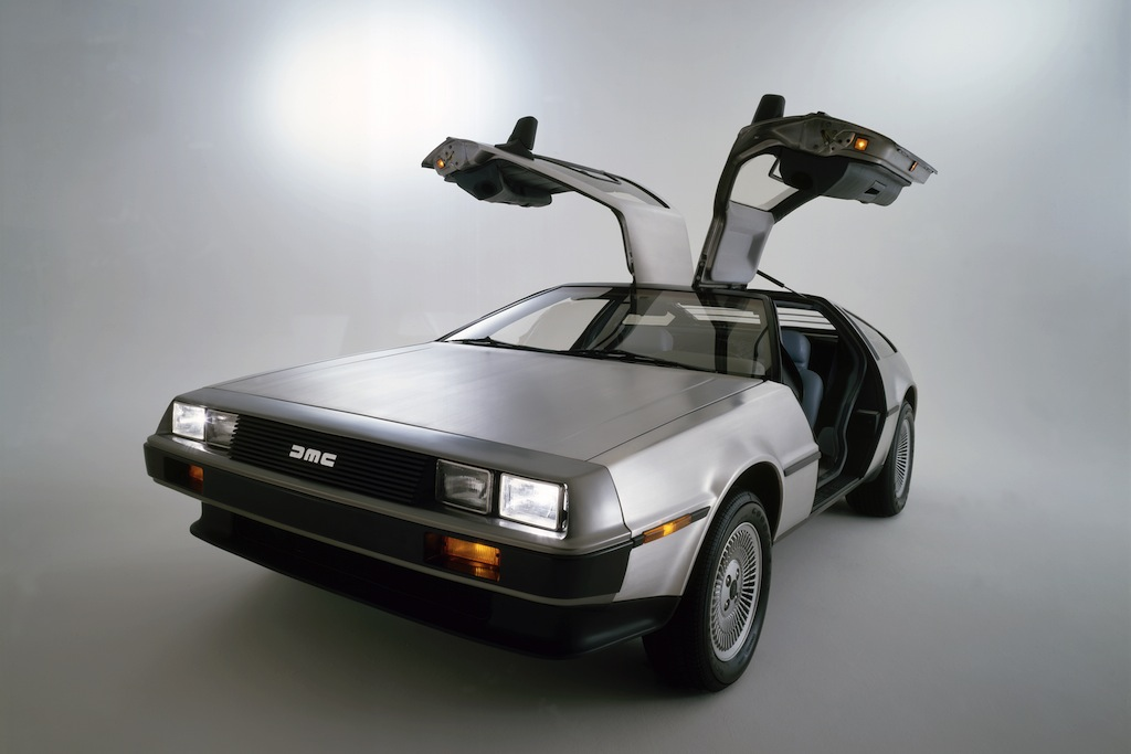 DeLorean DMC-12 on display with its gullwing doors open