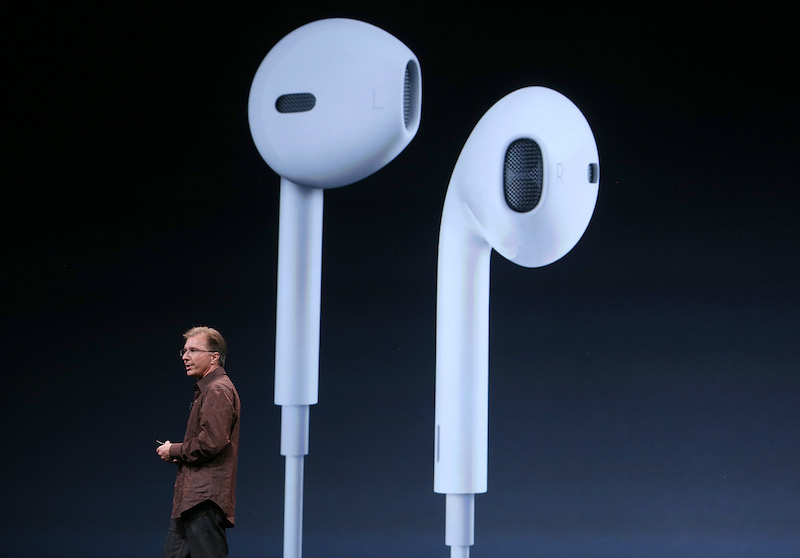 Apple Vice President of iPod and iPhone Product Marketing Greg Joswiak, announces new Apple earphones called EarPods during an Apple special event at the Yerba Buena Center for the Arts on September 12, 2012 in San Francisco, California. Apple announced the iPhone 5, the latest version of the popular smart phone as well as new updated versions of the iPod Nano, Shuffle and Touch. (Photo by Justin Sullivan/Getty Images)