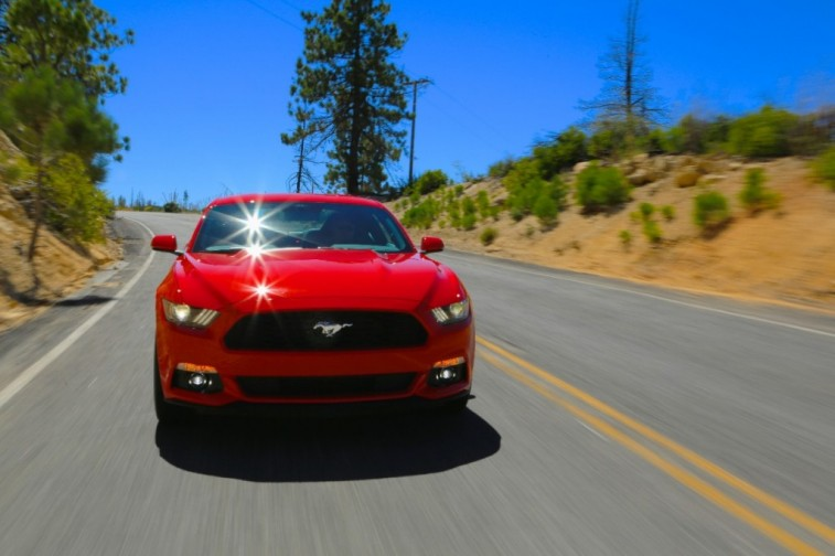 A red 2017 Ford Mustang EcoBoost