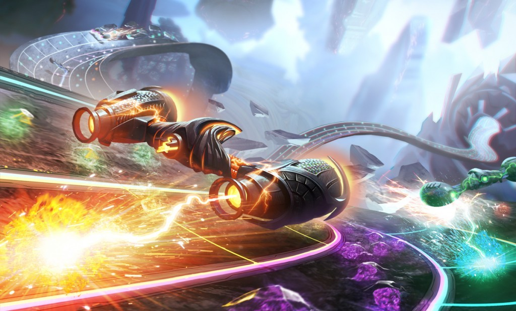 Space ships dropping beats in Amplitude.