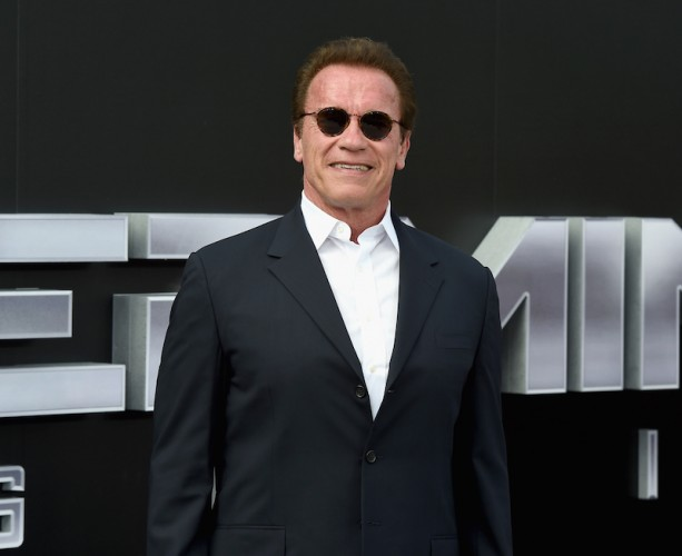 Arnold Schwarzenegger wearing a black suit and glasses on a red carpet.