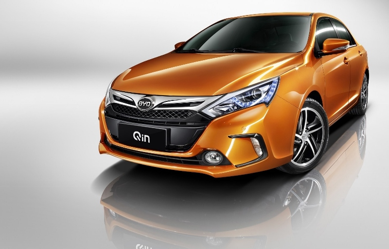 An orange BYD Qin