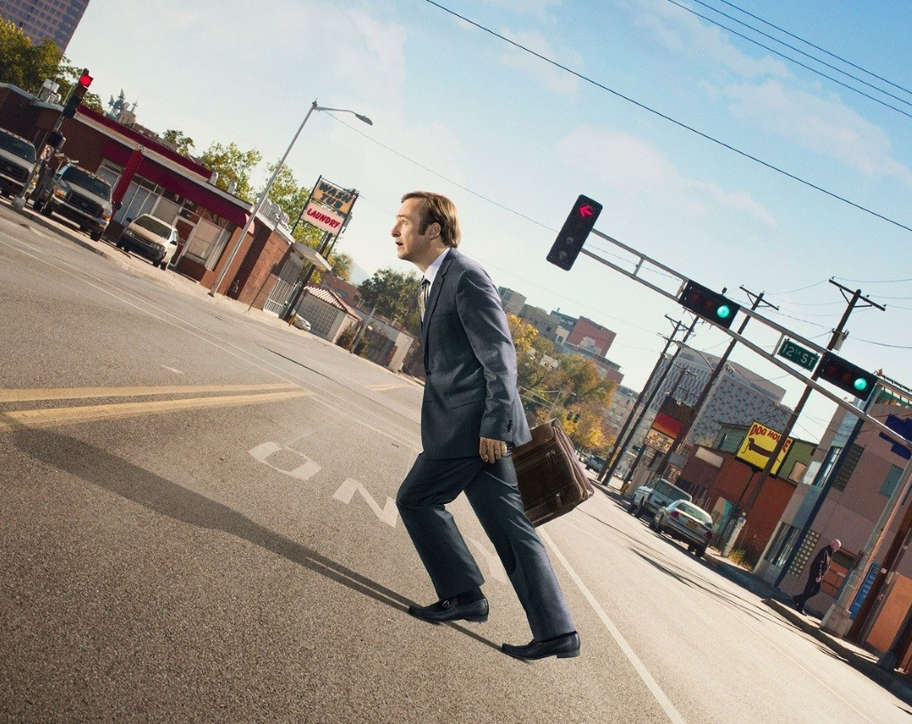 Bob Odenkirk walks uphill in a promo for Better Call Saul