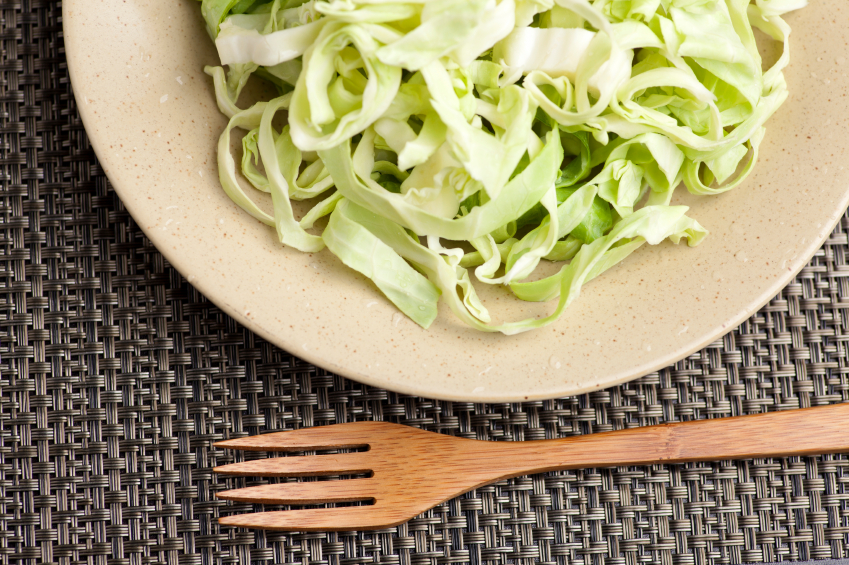 close shot of a bowl of raw green cabbage