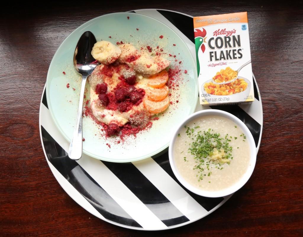 CORN FLAKES sweet and salty corn powder, yogurt, and winterberries 2