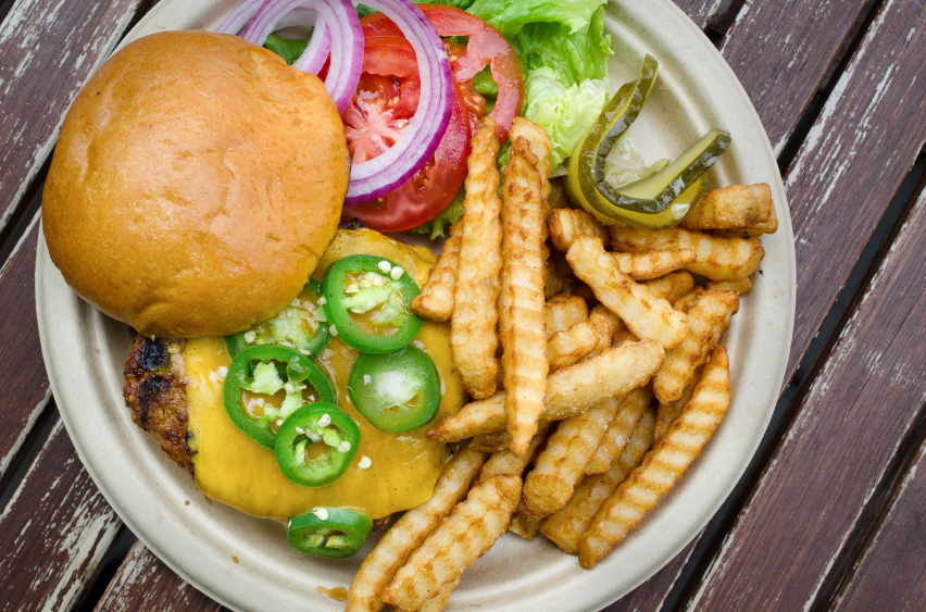 meal of cheese burger and fries