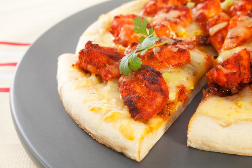 Chicken Tikka Pizza in a Tray