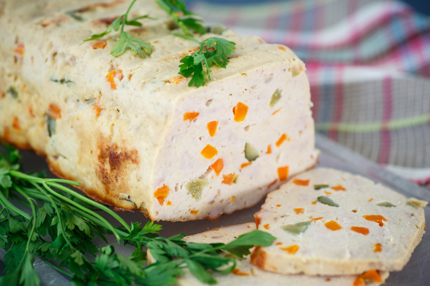 sliced chicken meatloaf with carrots and clery