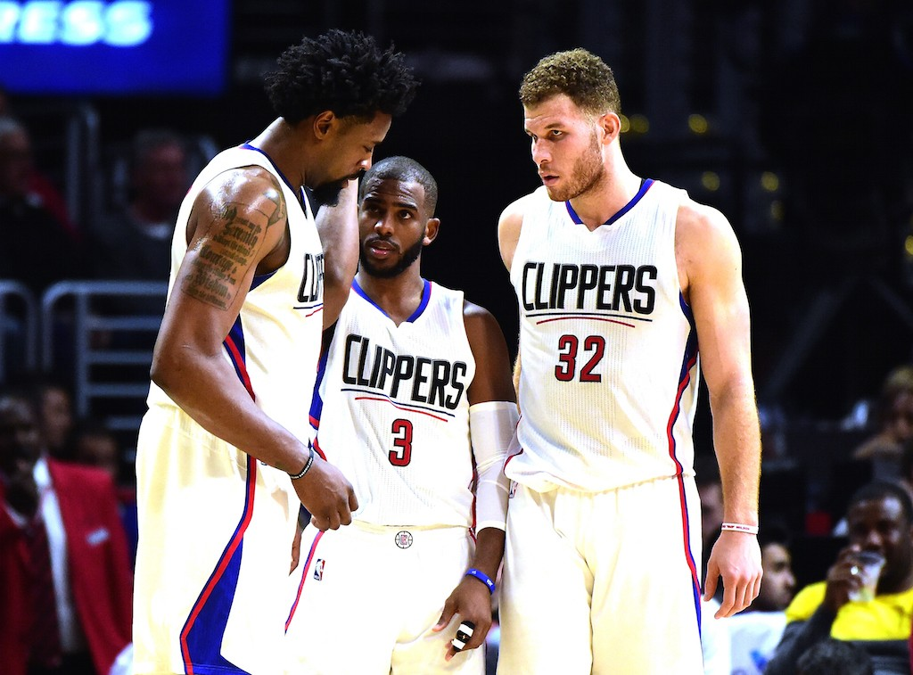 DeAndre Jordan #6, Chris Paul #3 and Blake Griffin #32 of the Los Angeles Clippers
