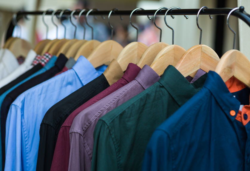 color shirts on hangers