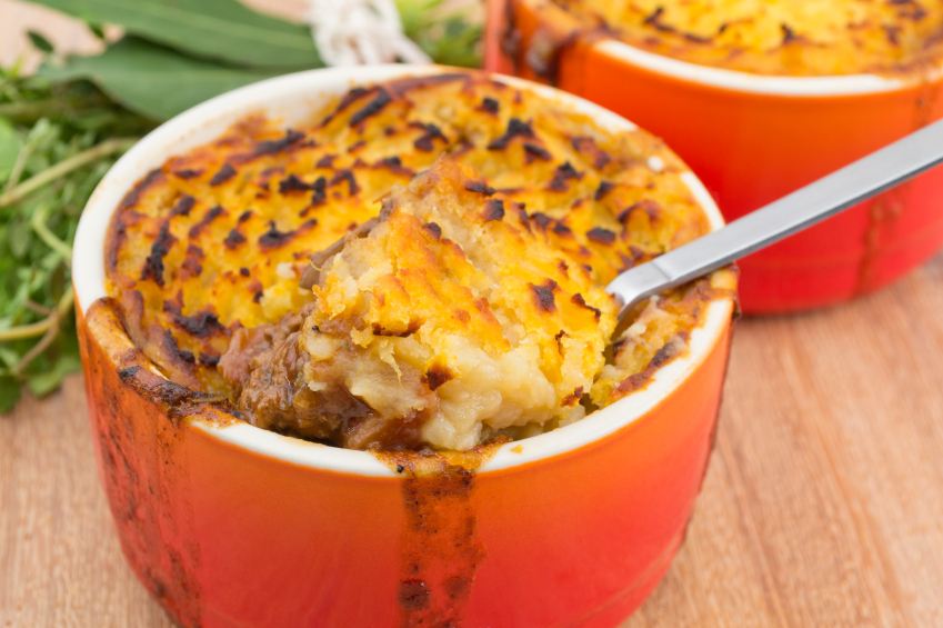 shepherd's pie in an individual dish with a sweet potato topping