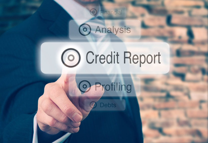 man pressing credit report option