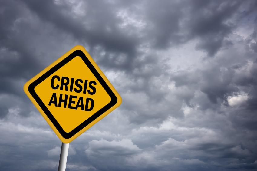 warning sign saying 'Crisis Ahead'
