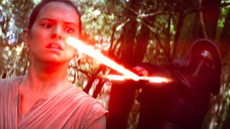 Daisy Ridley and Adam Driver in Star Wars: The Force Awakens