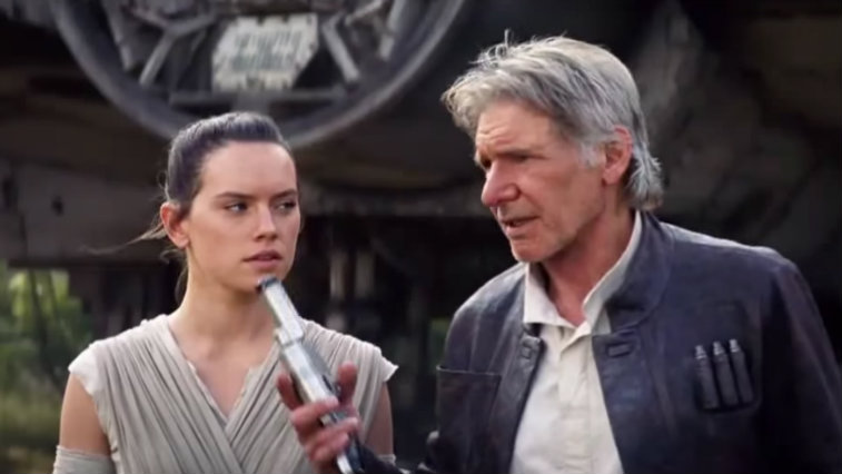 Han Solo and Rey in The Force Awakens