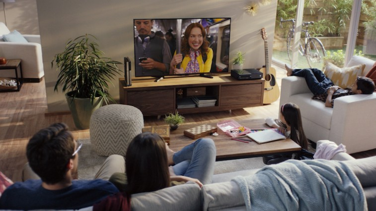 Family watching a Netflix show in living room