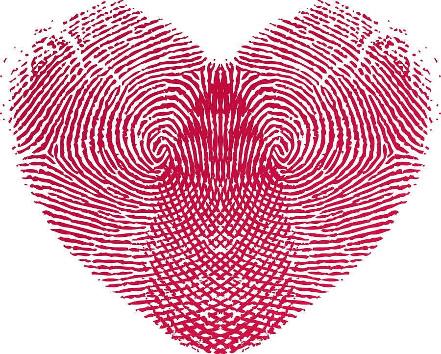 fingerprints making heart shape