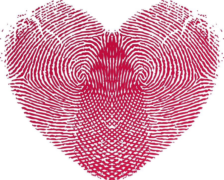 fingerprints making heart shape