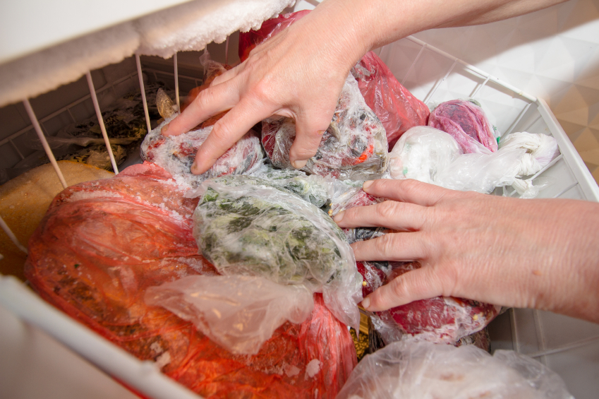 sorting through a freezer filled with food