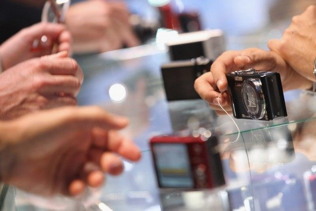 Digital cameras on display