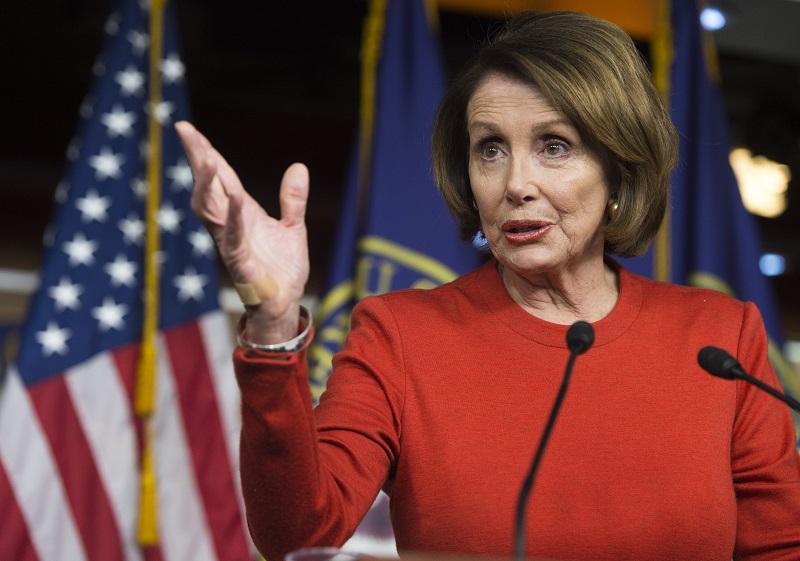 Rep. Nancy Pelosi speaks at a press conference