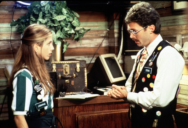 Jennifer Aniston in 'Office Space' gets an earful about the rules from management