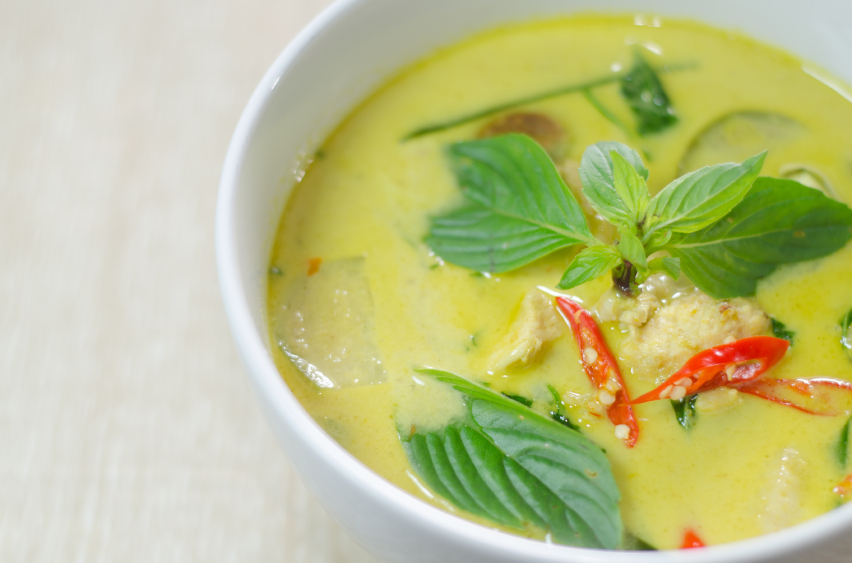 Green chicken curry with basil and chiles