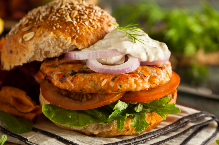 Organic Salmon Burger with vegetables