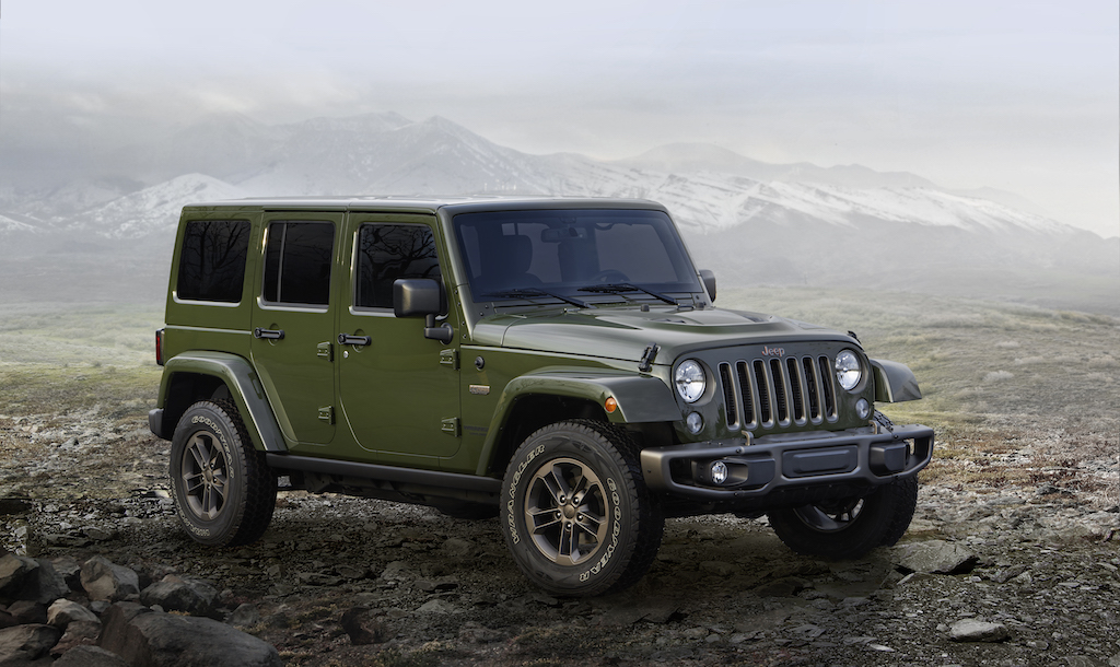 The 2016 Jeep Wrangler Unlimited 75th Anniversary edition in army green