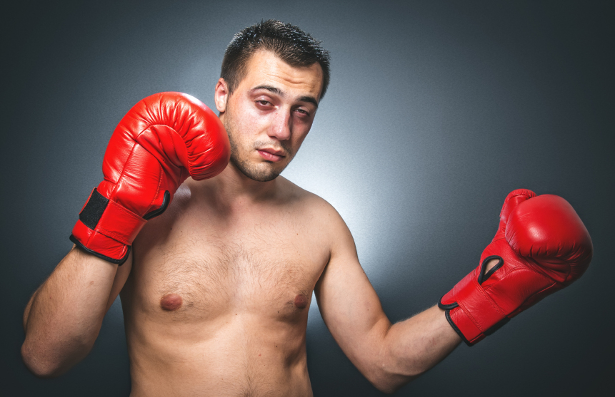 funny boxer wearing red boxing gloves