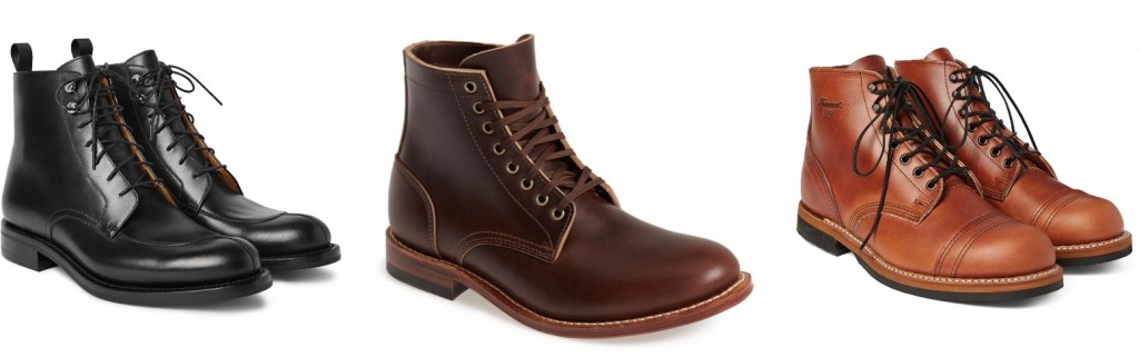 Leather boots by O'Keeffe, Oak Street Bootmakers, and Thorogood