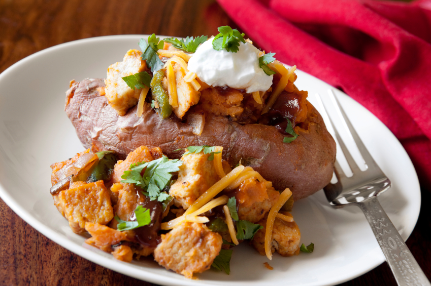 sweet potato stuffed with barbecue chicken, sour cream, and cheese