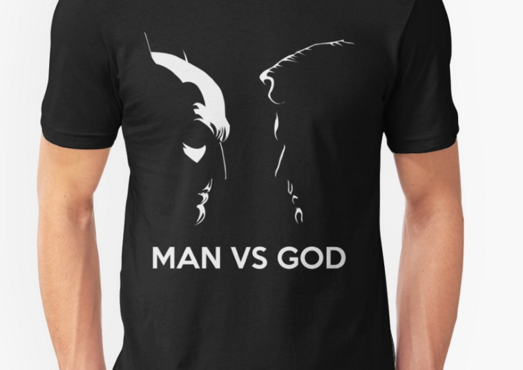 Man vs God t-shirt. | Source: RedBubble