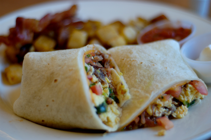 close up of an egg and chorizo burrito