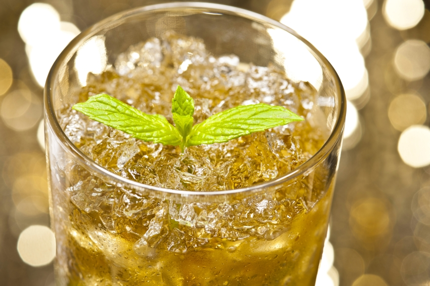 glass filled with mint julep and lots of ice